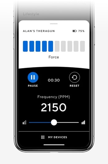 theragun app speed force control
